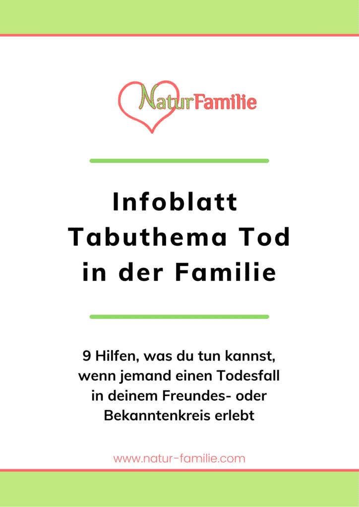 Infoblatt Tabuthema Tabuthema Suizid in der Familie, Tod und Trauer